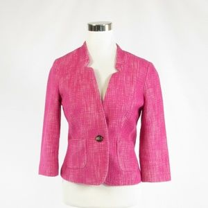 Banana Republic bright pink tweed jacket 6